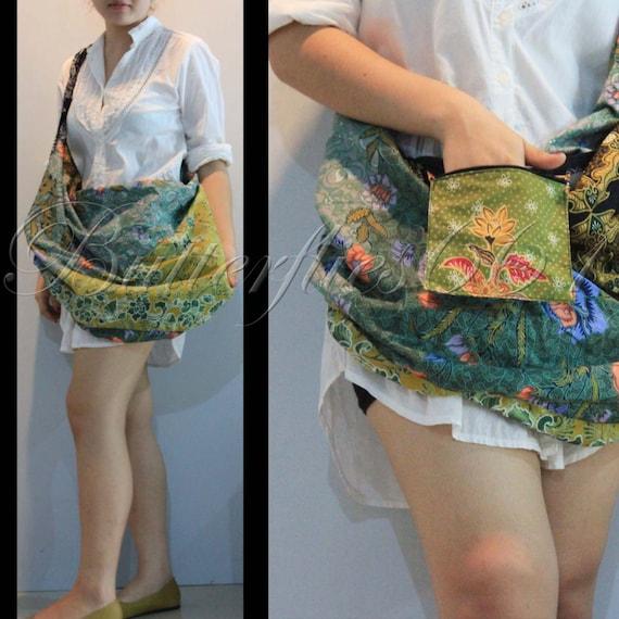 Green 2 Tonegreen Patchwork Hippie Gypsy Boho Thai Batik Cotton Bag