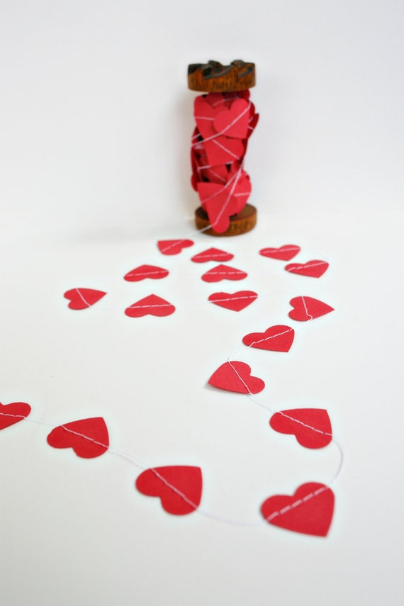 Valentine's Paper Garland - Hearts - Red