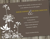 50 Printed Woodsy Garden Taupe Brown Wedding Invitations