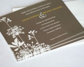 100 Printed Woodsy Taupe Brown Garden Wedding Invitations