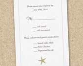 100 Printed Starfish Beach Wedding RSVP Cards with Envelopes