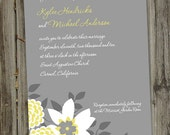 100 Printed Grey and Yellow Garden Wedding Invitations with Envelopes