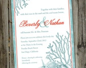 100 Printed Turquoise and Crimson Beach Wedding Invitations with Envelopes