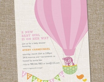 Hot Air Balloon Girl Baby Shower Invitation