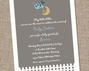 Cow Jumped Over The Moon, Hey Diddle Diddle, Baby Shower Invitation, Baby Shower Over the Moon, Gender Neutral Baby Invitations, PRINTABLE