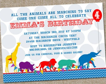 Animal Parade Party Invitation, Circus Party Invitation, Animal Party Invitation, PRINTABLE, Zoo Party Invitation