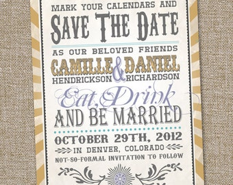 Vintage Retro Save The Date, Wedding Announcement, Retro Save The Date, PRINTABLE, Vintage Save The Date, Eat Drink and Be Married