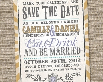 Vintage Retro Save The Date Wedding Announcement