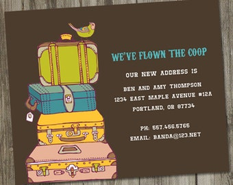 Moving Announcement We've Flown The Coop, Moving Announcement PRINTABLE, We Moved Cards, We've Moved, We Have Moved,  We've Moved Cards