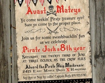 Avast Matey Pirate Treasure Hunt Printable Birthday Invitation