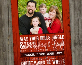 Christmas Photo Card, Red Barn Wishes, PRINTABLE, DIGITAL, Holiday Photo Card, Photo Card Template, Photo Christmas Card, Photo Holiday Card