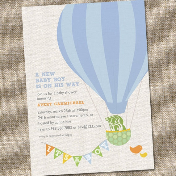 Hot Air Balloon Baby Shower Invitation Hot Air Balloon