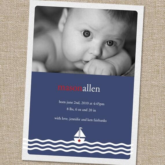 Photo Birth Announcement, Little Sailor Boy Nautical Birth Announcement, Newborn Announcement, Printable Birth Announcement, Boy Birth