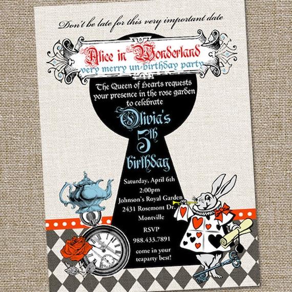 Vintage alice au pays des merveilles anniversaire invitation - Anniversaire alice au pays des merveilles ...