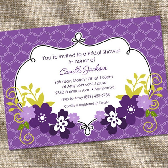 Purple Flower Bridal Shower Invitation : Pretty purple flowers bridal shower invitation by partymonkey