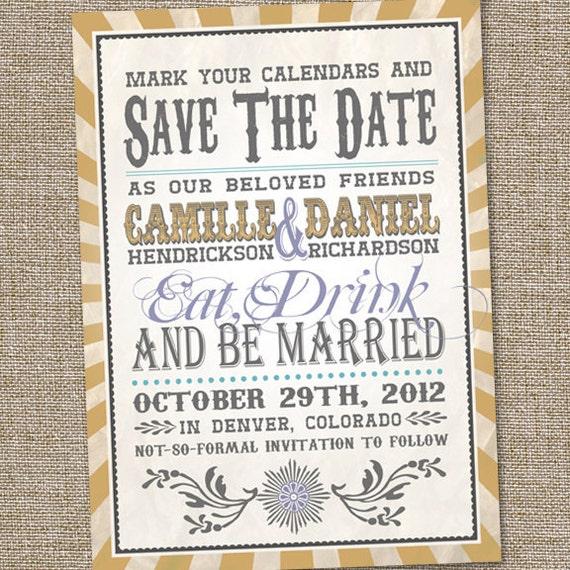 Vintage Retro Save The Date Wedding Announcement
