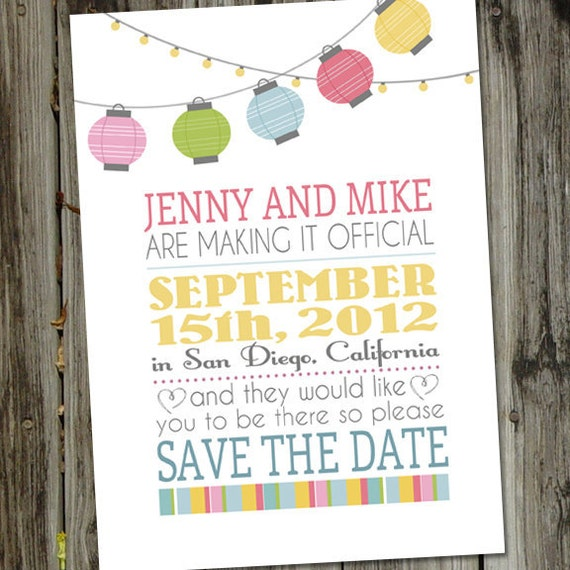 Paper Lantern Party Save The Date Wedding Announcement
