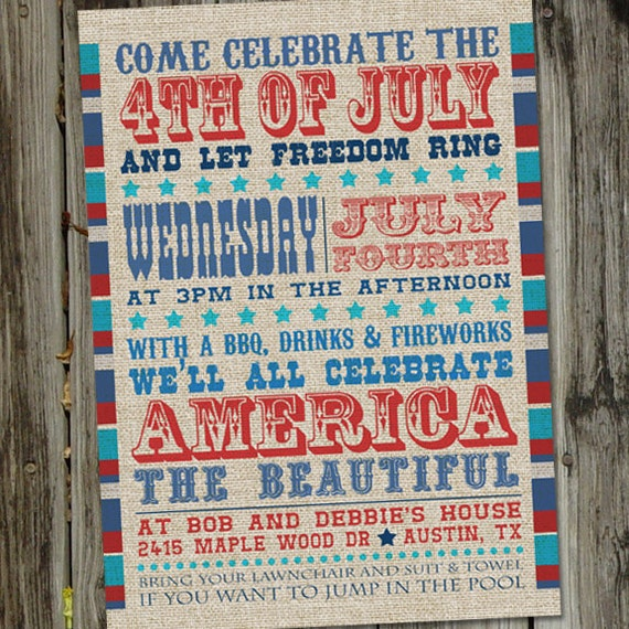 America The Beautiful Vintage Fourth of July Inviation