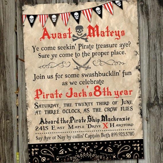 Avast matey pirate treasure hunt printable birthday invitation by il570xn filmwisefo