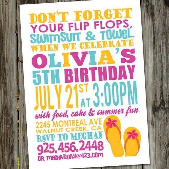 Summer Fun Printable Swim Party Birthday Invitation