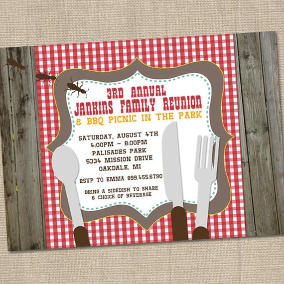 Picnic Table BBQ Family Reunuon Printable Party Invitation