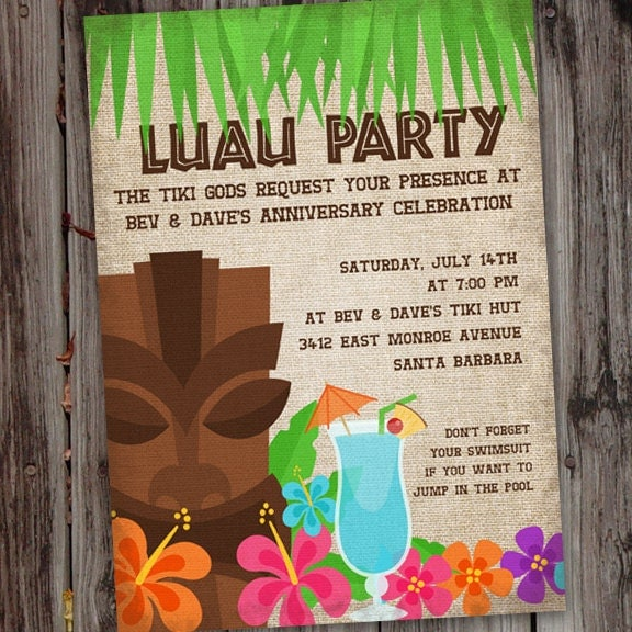 Luau Invitation Invite Hawaiian Birthday Party