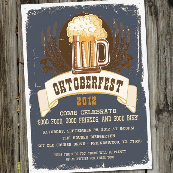 Oktoberfest Bier Beer Party Printable Invitation
