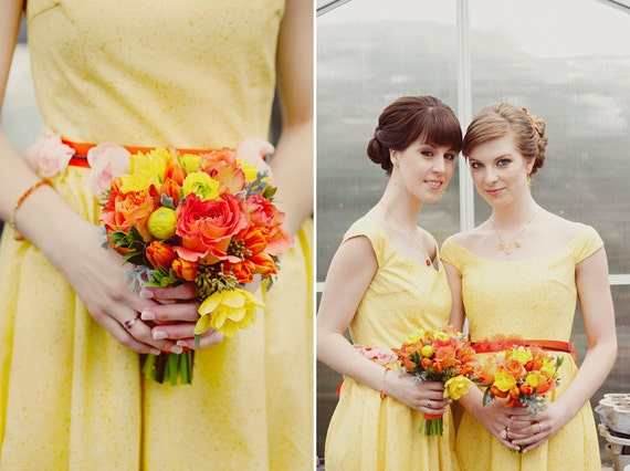 1950's style happy yellow dress. Available in custom sizes and fabrics.