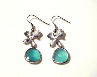 Mint Opal Gem adorned with Orchid Flowers Earrings