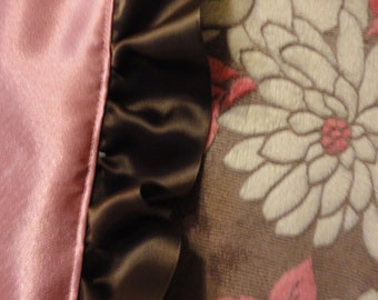 Minky Blanket and Pink Satin baby quilt with beautiful brown ruffled ribbon edge