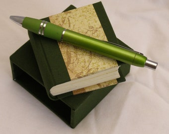 Miniature book and slipcase - blank book - handmade notebook - unlined pages - hardback notebook - dark green with decorative paper detail