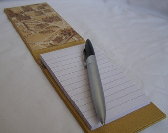 Golden, handmade Paris-themed mini notepad holder with gemstone detail