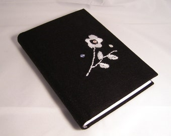 Black A6 size handmade notebook - Hardback blank notebook - Padded cover with white embroidered flower - fabric covered journal
