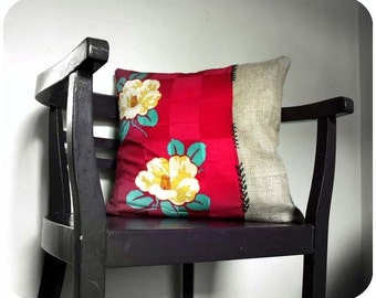 Anya Decorative Pillow by ProjectSarafan. Eco. Burlap and Vintage Silk. 46cm (18'').