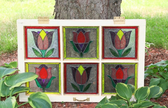 Multicolor Tulips Faux stained glass antique frame 19 3/4 30