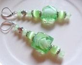 Mint green Lampwork Crystal dangle earrings