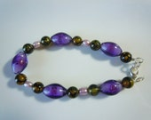 Purple flowers Pearl bracelet  B014