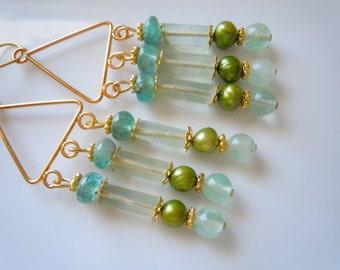 Mint beauty chandelier earrings  E228