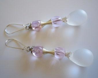 Frosted  Glass  Teardrops  dangle earrings  E241
