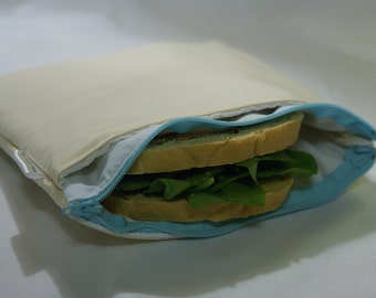"""8"""" x 8"""" Insulated & Zippered Reusable Sandwich Bag w/ Pocket for Included Cool Pack in Unbleached Muslin"""