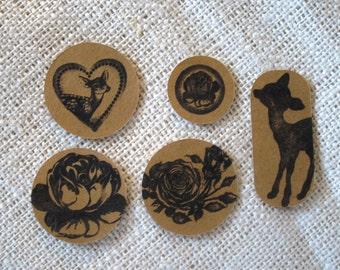 Kraft Envelope Seals Stickers Deer in the Rose Garden