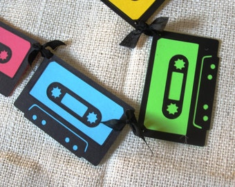 Neon Mix Tape Banner 80s Cassette Birthday Decoration