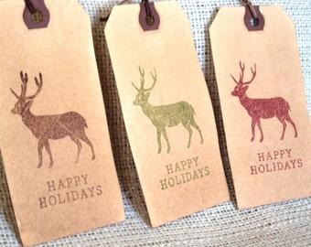 Reindeer Aged Tags Happy Holidays