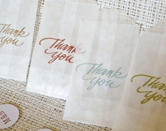 Thank You Favor Bags Glassine with Sticker Seals 2 X 3.5 Set of 10