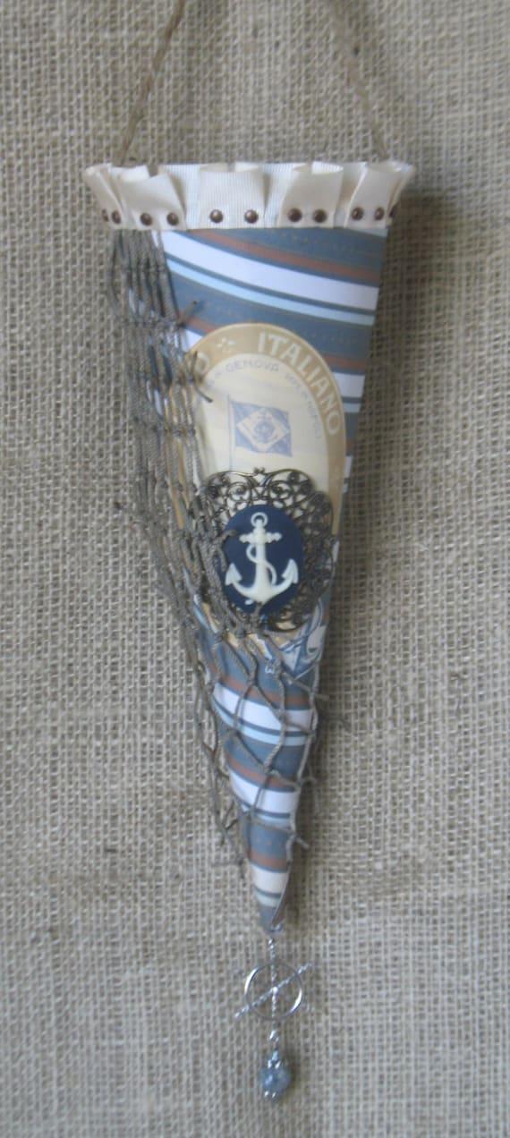 Shabby Chic Nautical Hanging Home Decor Cone
