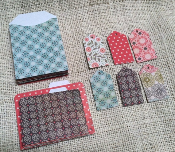 SALE Mini Office Set Pocket Envelopes Mini Files and Tags