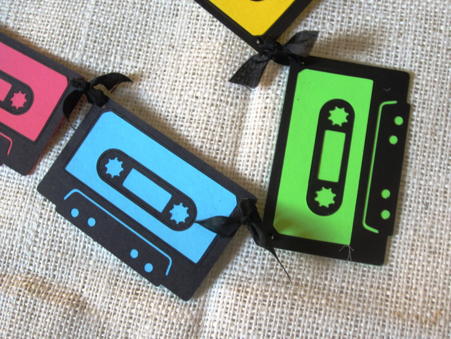 Neon mix tape banner 80s cassette birthday decoration for Decoration 80 s