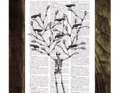 Skeleton Tree and crows Print on Vintage Book page - Home decor Altered art- Recycled dictionary page print BPSK072