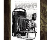 Old Book Print Photo camera Dictionary or Encyclopedia Page - Old Photo Camera Print on Vintage Book page Spring BPTV049