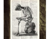 Upcycled Dictionary Page- Skeleton anatomy print on Upcycled Book - Gothic gift BPSK010